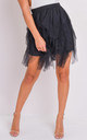 Tulle high waisted tiered mini skirt black by LILY LULU FASHION