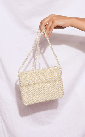 Faux pearl rectangle envelope shoulder bag white by LILY LULU FASHION
