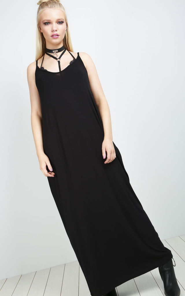 Lola Strappy Basic Jersey Slinky Maxi Dress by Oops Fashion