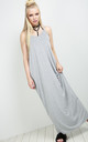 Grey Strappy Basic Jersey Slinky Maxi Dress by Oops Fashion