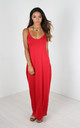 Red Strappy Basic Jersey Slinky Maxi Dress by Oops Fashion