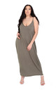 Khaki Strappy Basic Jersey Slinky Maxi Dress by Oops Fashion