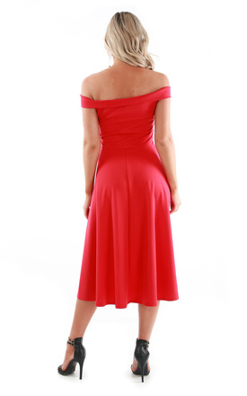 Red V Bar Strapless Midi Swing Dress by Oops Fashion