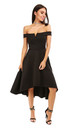 Black V Bar Strapless Midi Swing Dress by Oops Fashion