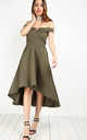 Khaki V Bar Strapless Midi Swing Dress by Oops Fashion