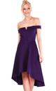Purple V Bar Strapless Midi Swing Dress by Oops Fashion
