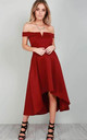 Wine V Bar Strapless Midi Swing Dress by Oops Fashion