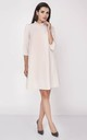 Loose Midi Dress with High Ruffle Neck in Beige by Bergamo