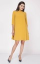 Loose Midi Dress with High Ruffle Neck in Yellow by Bergamo