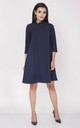 Loose Midi Dress with High Ruffle Neck in Navy by Bergamo