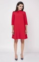 Loose Midi Dress with High Ruffle Neck in Red by Bergamo