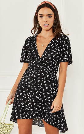 Simone Wrap Mini Dress in Black and White Daisy by Nobody's Child