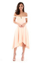Nude V Bar Strapless Midi Swing Dress by Oops Fashion