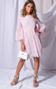 Broderie anglaise flare sleeve gathered dress pink by LILY LULU FASHION