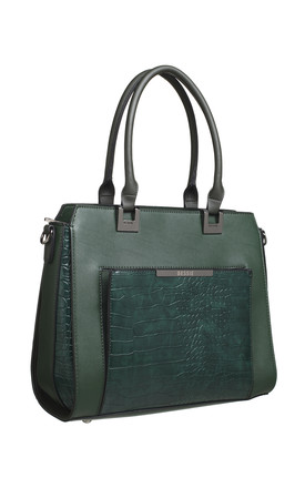 CROC PRINT PRONT POCKET TOTE GREEN by BESSIE LONDON