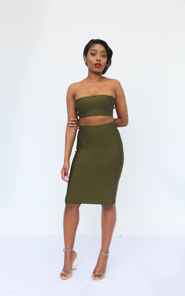 Tara Bandage Bandeau Top and Skirt Co-ord in Olive Green by Made By Issae