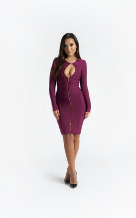 The 'Melody' Purple Long Sleeve Bandage Dress by Made By Issae Product photo