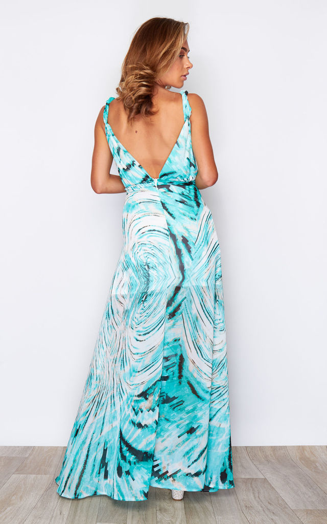Hayley Twist Strap Side Split Wrap Chiffon Maxi Dress Aqua Print by Girl In Mind