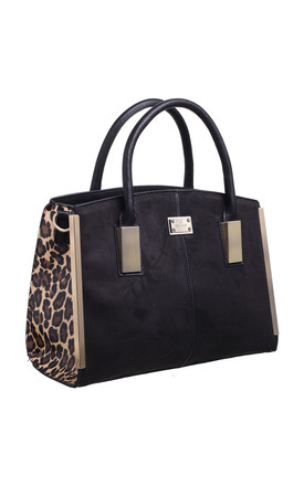 SUEDE ANIMAL PRINT STRUCTURED TOTE BLACK by BESSIE LONDON