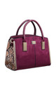 SUEDE ANIMAL PRINT STRUCTURED TOTE RED by BESSIE LONDON