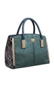 SUEDE ANIMAL PRINT STRUCTURED TOTE GREEN by BESSIE LONDON