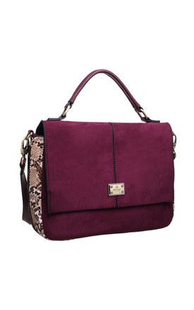 SUEDE ANIMAL PRINT STRUCTURED TOP HANDLE BAG RED by BESSIE LONDON