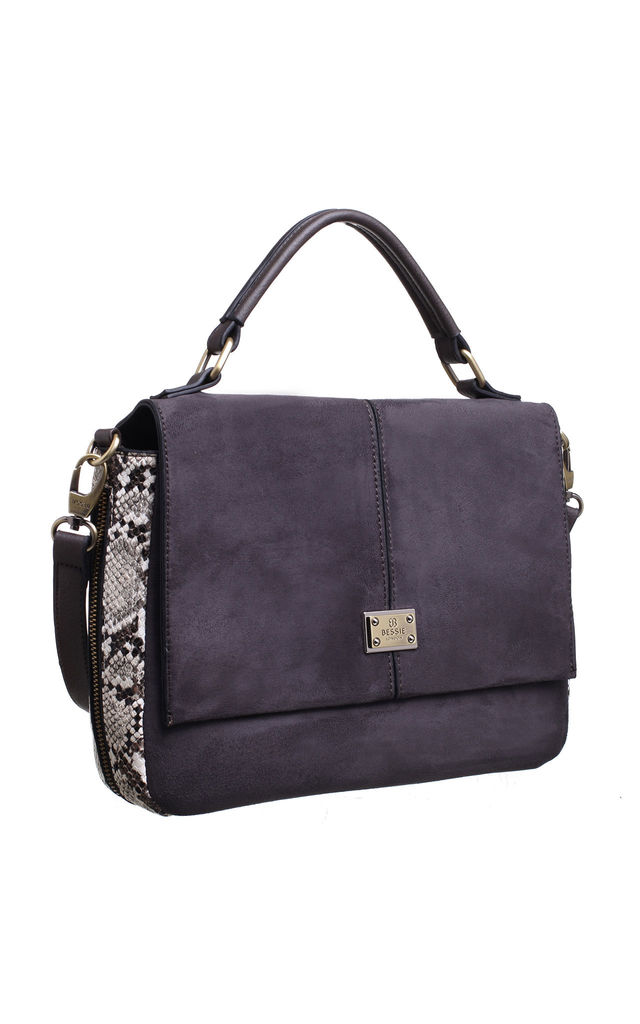 SUEDE ANIMAL PRINT STRUCTURED TOP HANDLE BAG GREY by BESSIE LONDON