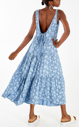 MONA - Floral Blue Layered Tie Back Maxi Dress by Blue Vanilla