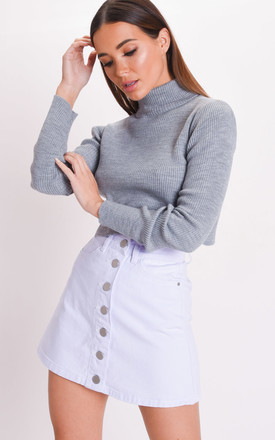 Button up mini denim skirt pale blue by LILY LULU FASHION