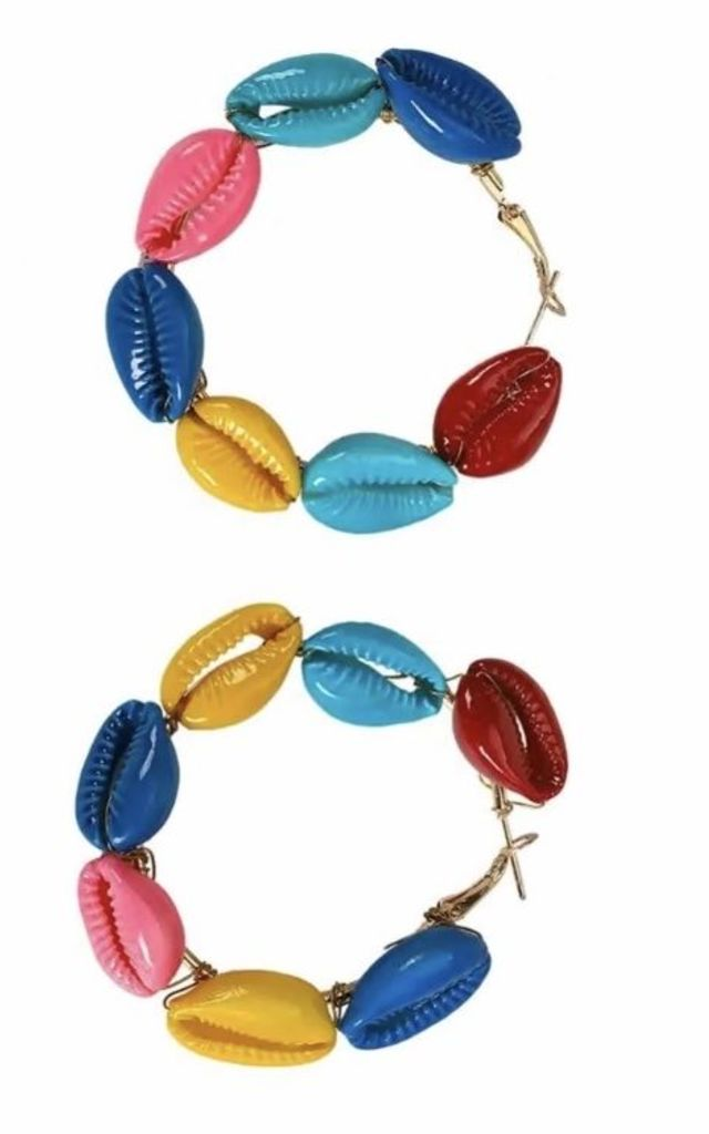 Shell Rainbow Hoops by Farrow Low