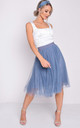 Pleated high waisted tulle mesh skirt blue by LILY LULU FASHION