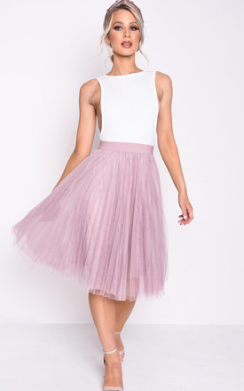 6aec21f32f Pleated High Waisted Tulle Mesh Skirt Pink | LILY LULU FASHION ...