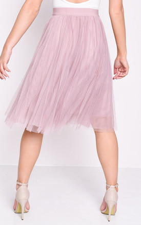 Pleated high waisted tulle mesh skirt pink by LILY LULU FASHION