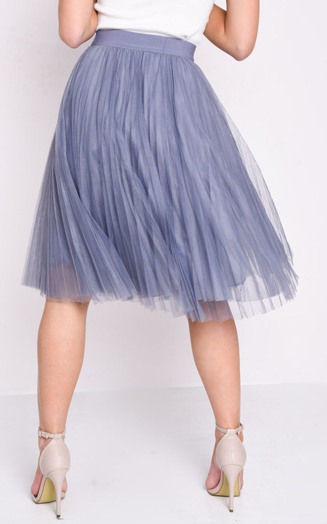 9d601265a8 Pleated High Waisted Tulle Mesh Skirt Grey | LILY LULU FASHION ...