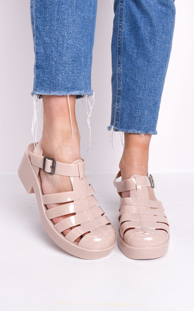 Cleated Block Heeled Jelly Sandals Nude Beige by LILY LULU FASHION Product photo