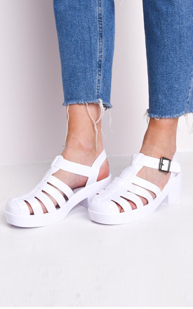Cleated block heeled cage jelly sandals white by LILY LULU FASHION