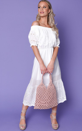 Broderie Anglaise Midaxi Sundress White by LILY LULU FASHION Product photo