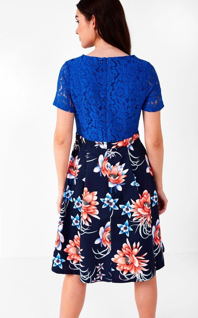 Short Sleeve Midi Dress in Cobalt Blue Lace and Navy Floral Print by Marc Angelo