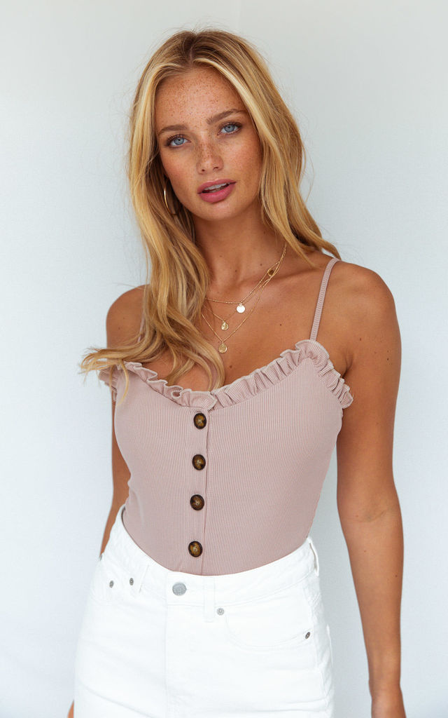 Alba Sand Button Bodysuit by Style Cheat