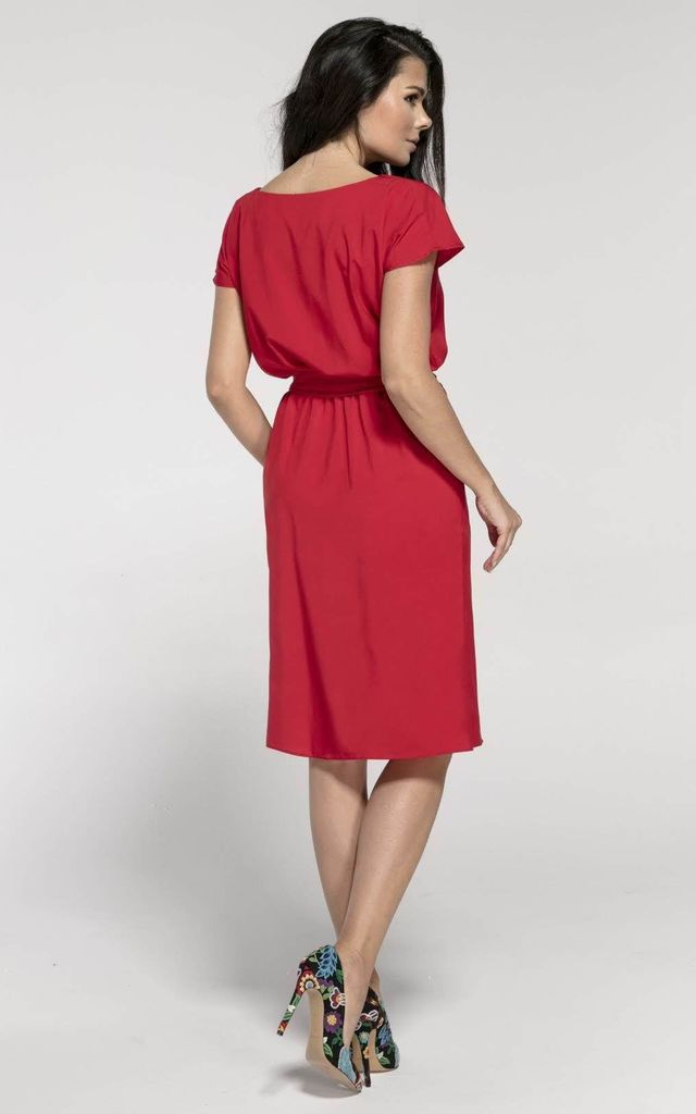 Tied at Waist Loose Midi Dress in Red by Bergamo