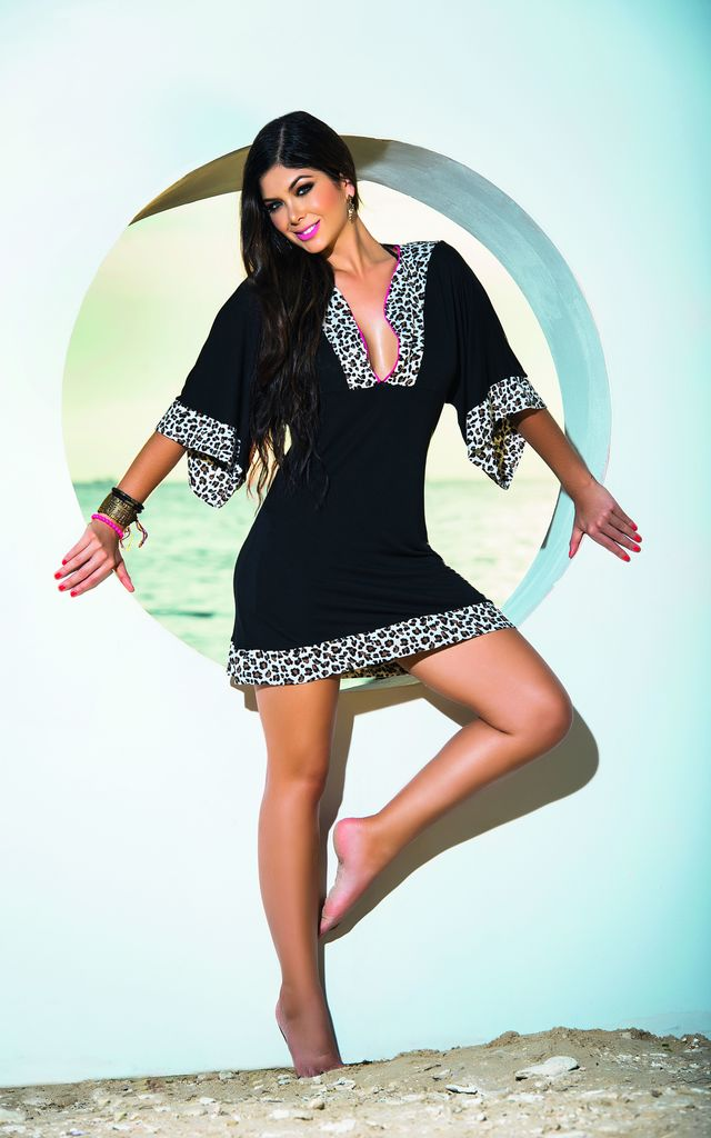 Black with Leopard trim Cover Up & Beach Dress by MAPALE
