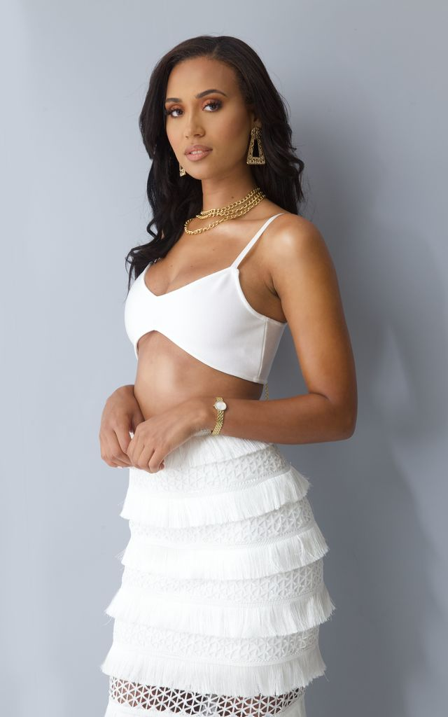 Athènes Bralette and Maxi Skirt Co-Ord in White by Millennium Dolls
