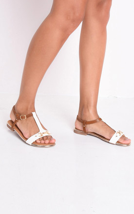 T bar gold detail flat sandals white by LILY LULU FASHION