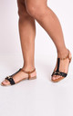 T bar gold detail flat sandals black by LILY LULU FASHION