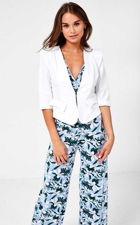 Tailored Cropped Blazer in Off White by Marc Angelo