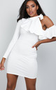 White One Sleeve Frilly Bodycon Dress by Oops Fashion