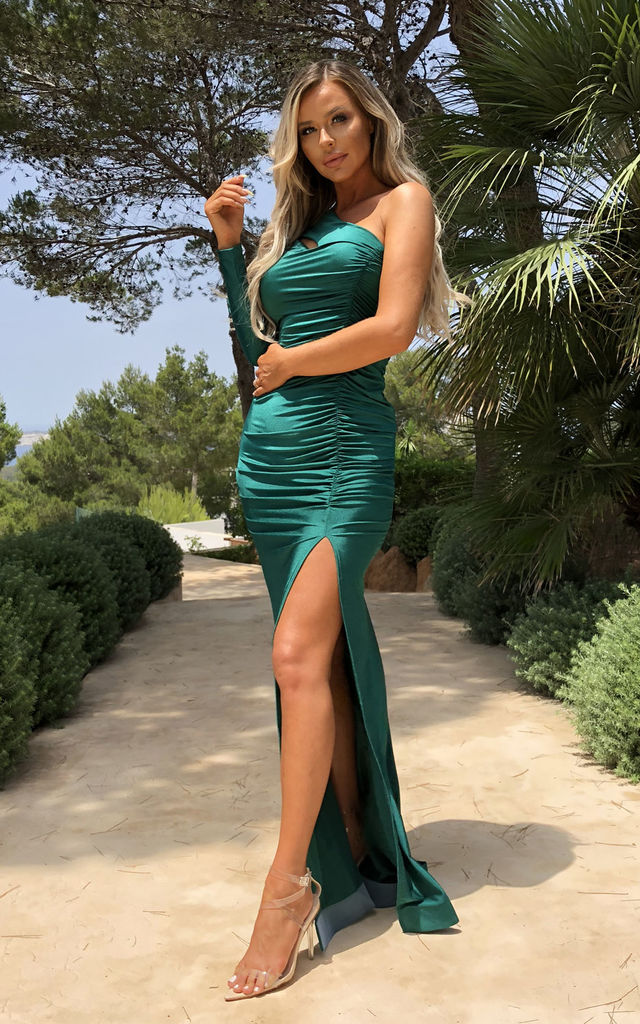 Gabriella One Shoulder Gown in Emerald Green by Cari's Closet