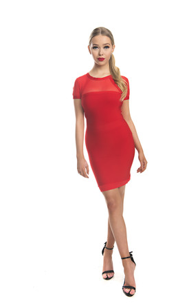 Yvette Short Sleeve Bandage Mini Dress In Red by Made By Issae Product photo