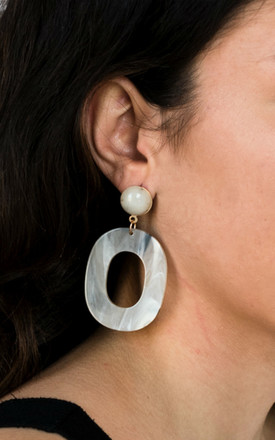 Grey Acrylic Hoop Earrings by HAUS OF DECK