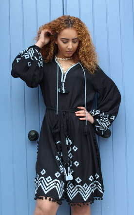 Ki Ki Black Long Sleeve Belted Midi Length Kimono Dress With Blue Embroidery & Tassels by Seventy Six Fashion Product photo